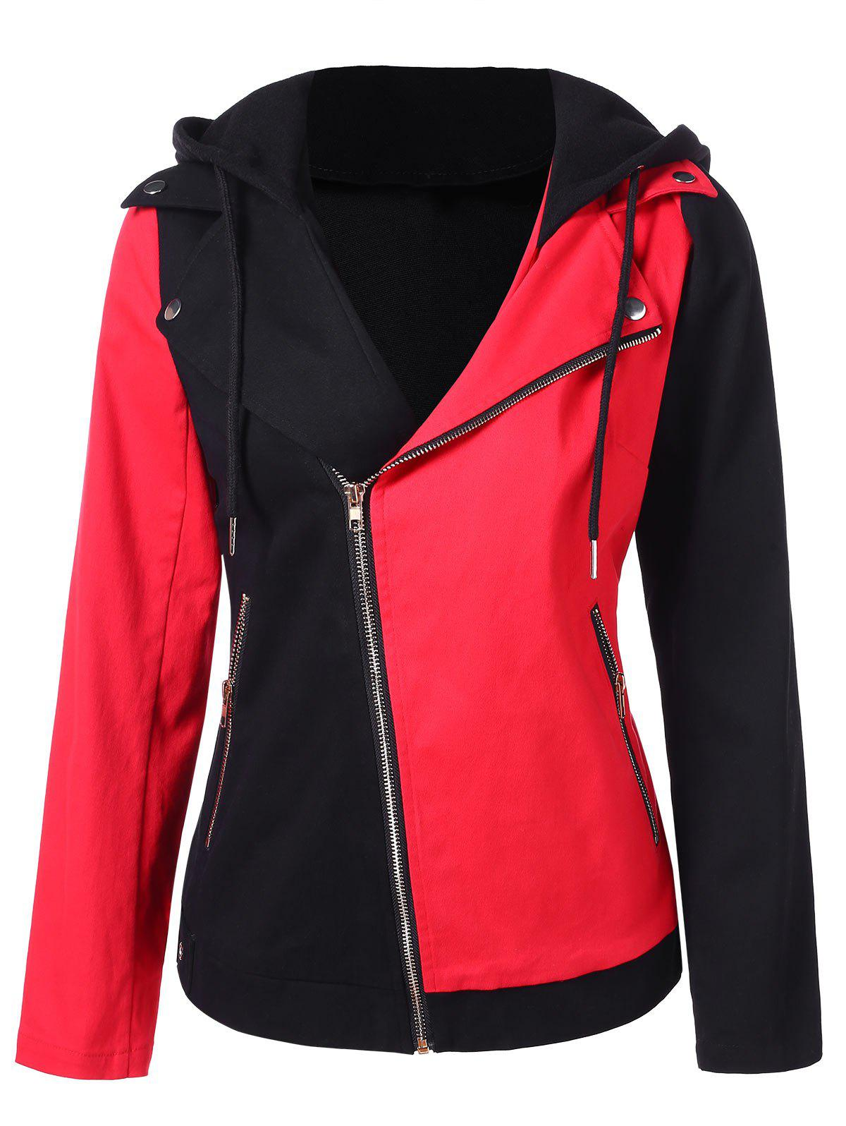 Hooded Contrast Zip Up Hoodie - RED XL