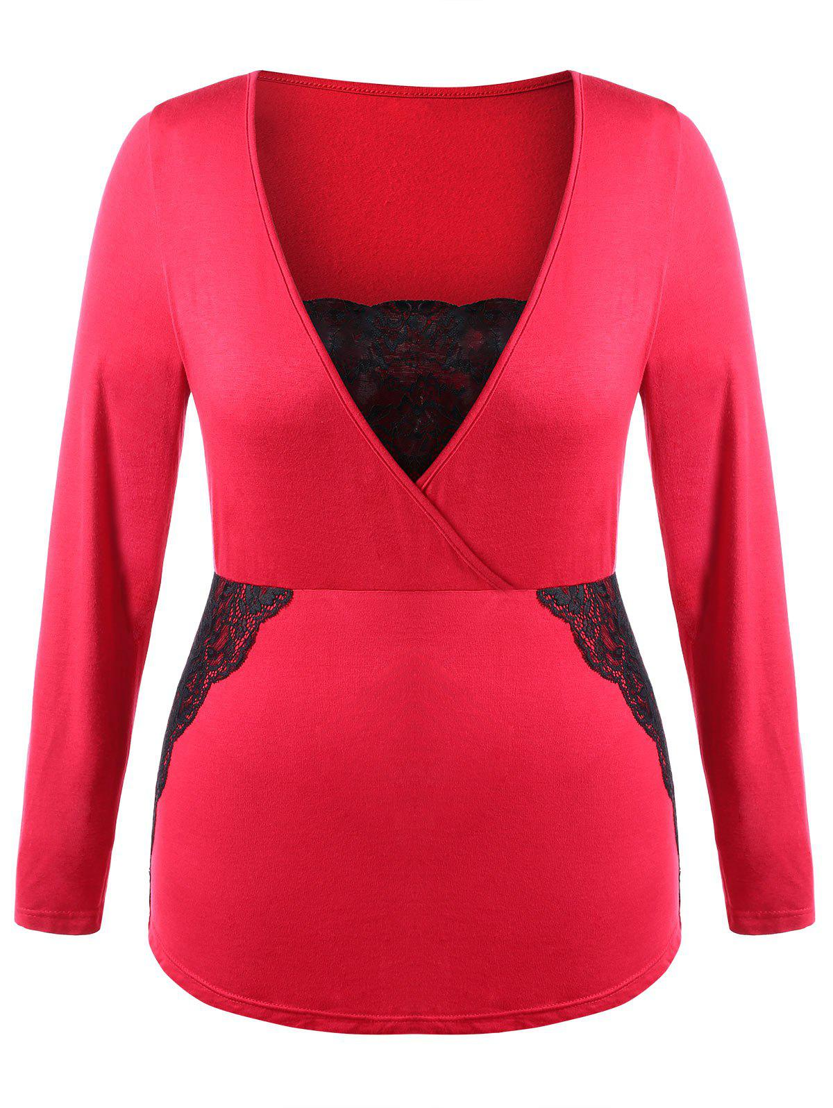 Plus Size Lace Panel Peplum T-shirt - RED 4X