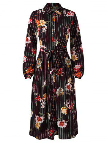 Floral Panel Stripe Print Midi Shirt Dress