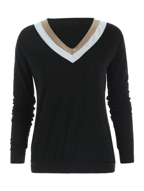Casual Long Sleeve V-Neck Color Block Women's T-Shirt - BLACK L