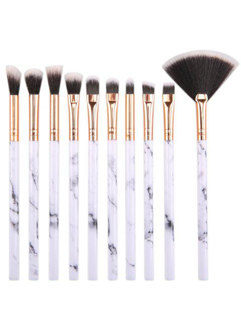 10Pcs Cosmetic Marble Handles Eye Makeup Brush Set - WHITE