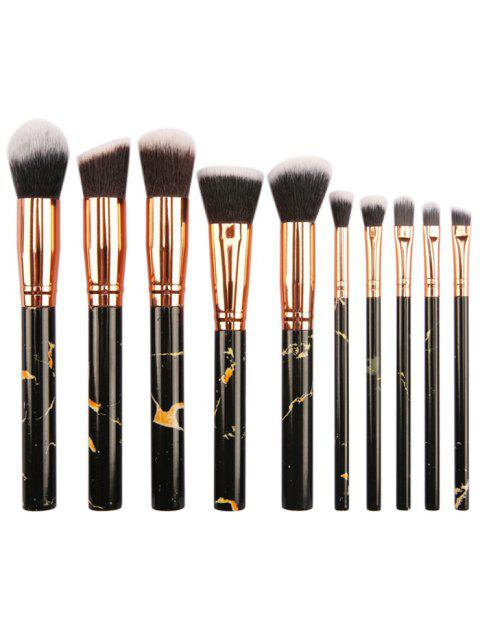 10Pcs Fiber Hair Ultra Soft Travel Cosmetic Brush Set - BLACK