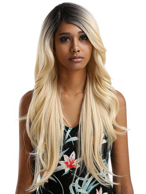 Long Side Bang Feathered Flip Wavy Synthetic Lace Front Wig - multicolor C