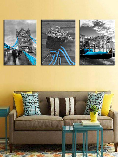 Vintage Building Print Unframed Canvas Paintings - GRAY 3PCS X 12 X 18 INCH( NO FRAME )