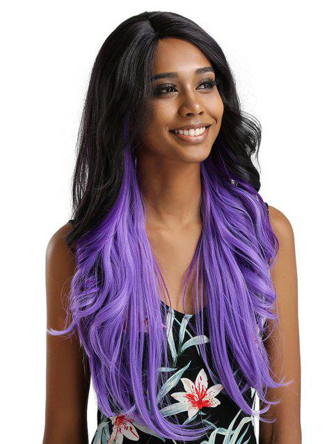 Long Side Bang Feathered Flip Wavy Synthetic Lace Front Wig - multicolor F