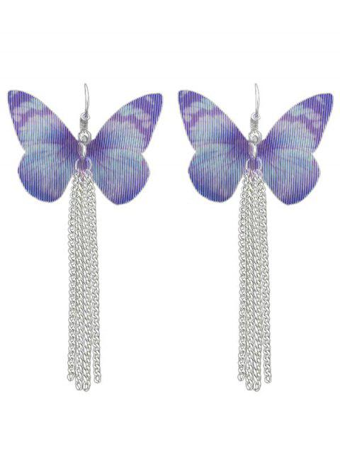 Butterfly Design Chain Tassel Drop Earrings - PURPLE