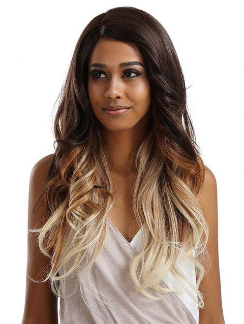 Long Side Bang Feathered Flip Wavy Synthetic Lace Front Wig - multicolor A