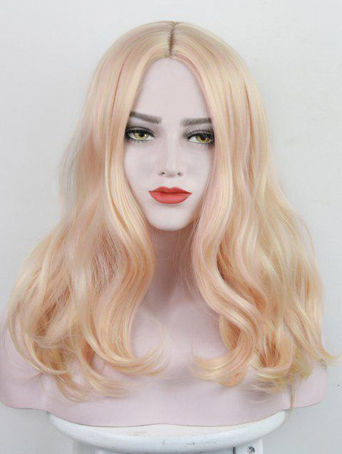 Long Center Parting Colorful Wavy Synthetic Party Wig - PEACH