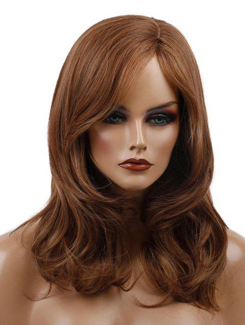 Medium Synthetic Side Parting Wavy Wig - BROWN