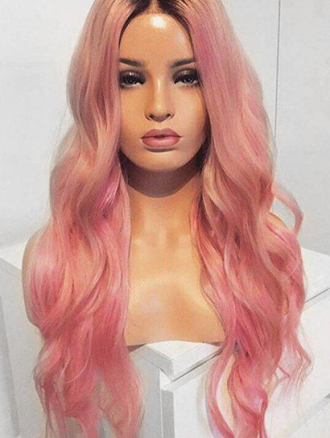 Long Middle Part Ombre Natural Wavy Party Lolita Synthetic Wig - multicolor
