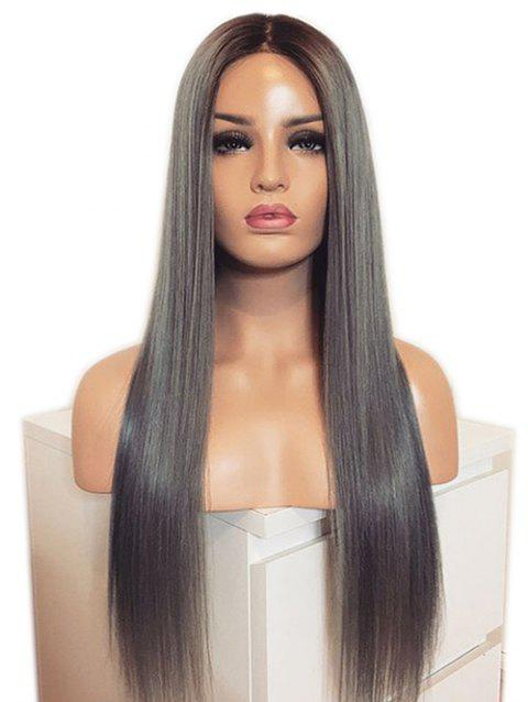 Long Synthetic Middle Part Ombre Straight Wig - multicolor