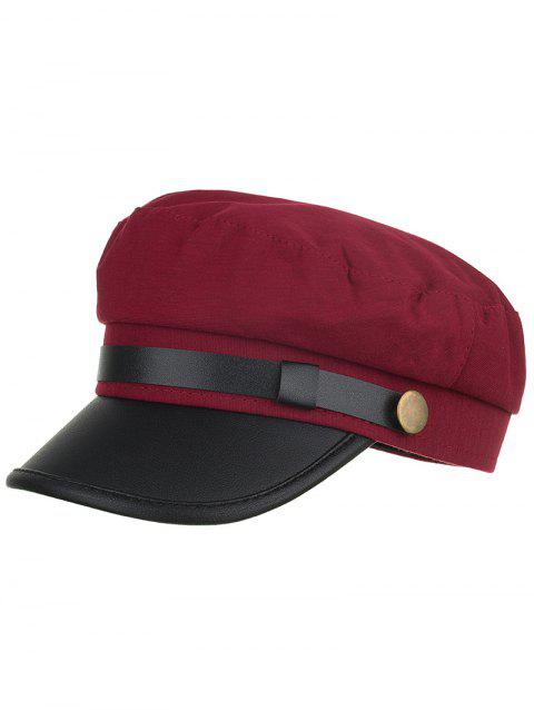 Vintage Solid Color PU Leather Army Hat - RED WINE