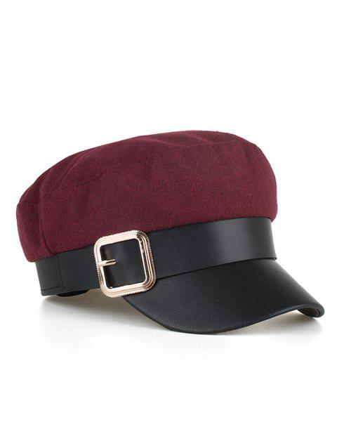 Square Buckle PU Leather Army Hat - RED WINE