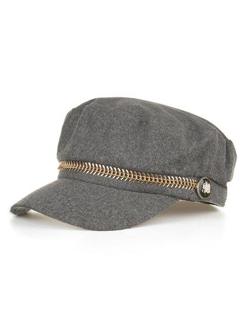 Metal Button Decorative Army Hat - GRAY