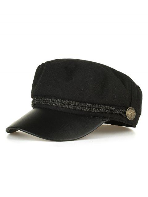 Vintage PU Leather Braided Band Military Hat - BLACK