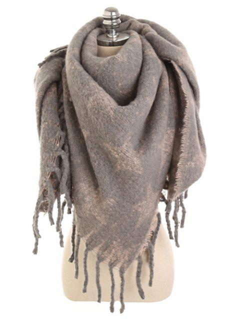Vintage Star Fringed Thicken Long Scarf - KHAKI ROSE