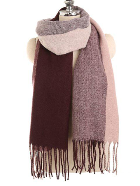 Color Splice Winter Long Scarf - RED WINE