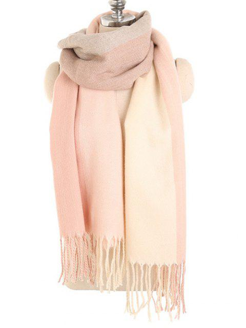 Color Splice Winter Long Scarf - ORANGE PINK