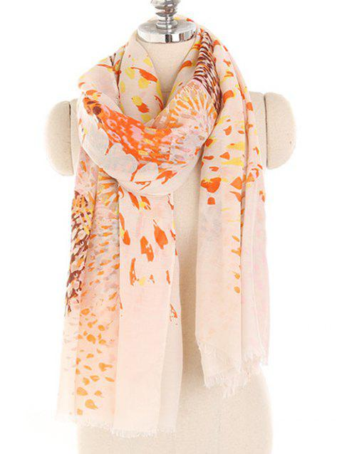Blooming Floral Lightweight Spring Fall Scarf - DEEP PEACH