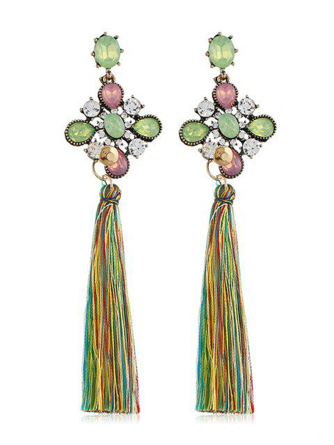 Long Tassel Rhinestone Floral Drop Earrings - multicolor