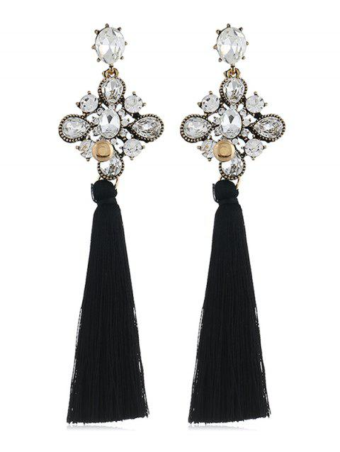 Long Tassel Rhinestone Floral Drop Earrings - BLACK