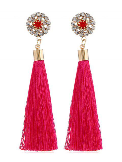 Long Tassel Rhinestone Inlaid Drop Earrings - ROSE RED
