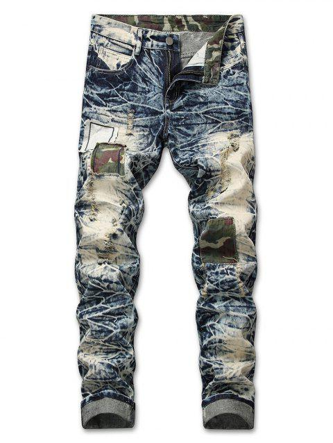 Camo Panel Faded Wash Distressed Jeans - BLUE GRAY 38