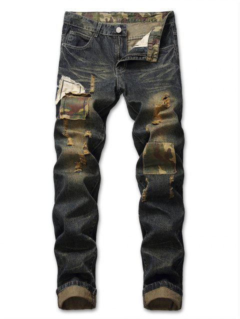 Zip Fly Camouflage Panel Destroyed Jeans - DARK SLATE BLUE 36