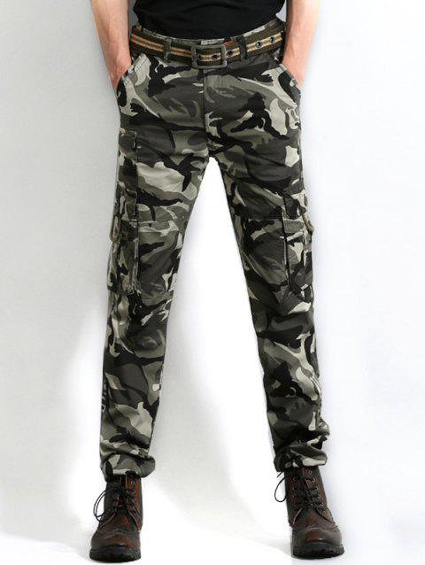 Multi Pocket Camo Print Cargo Pants - GRAY CLOUD 36