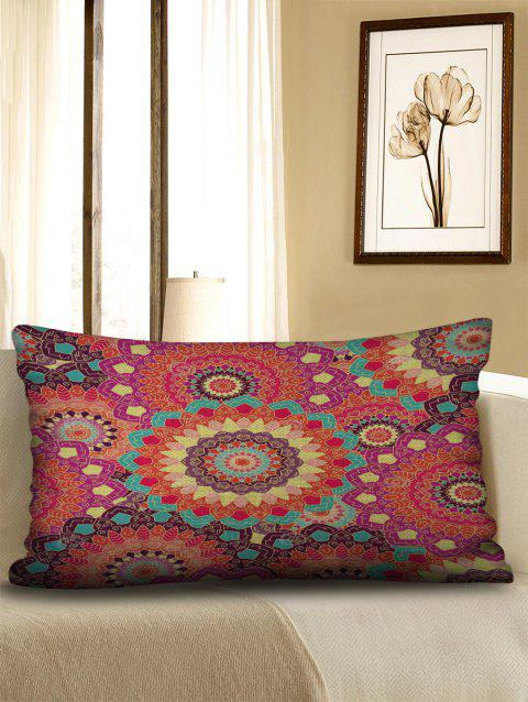 Mandala Print Sofa Linen Waist Pillowcase - multicolor W12 X L20 INCH