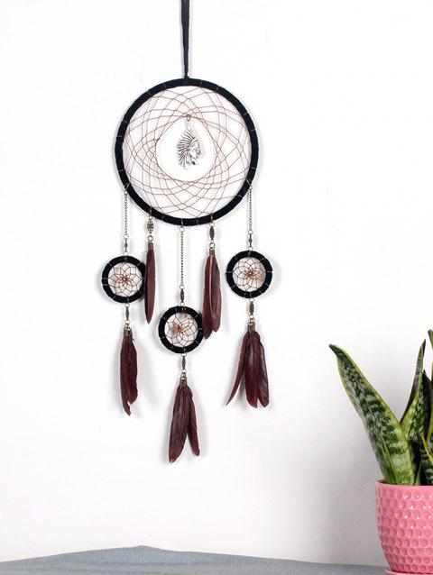 Feathers Handmade Indian Dream Catcher - COFFEE