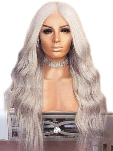 Middle Part Natural Wavy Long Capless Synthetic Wig - PLATINUM