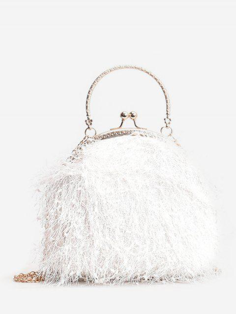 Faux Fur Metal Handle Chain Crossbody Bag - WHITE
