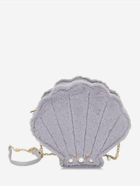 Shell Shape Faux Fur Chain Crossbody Bag - GRAY