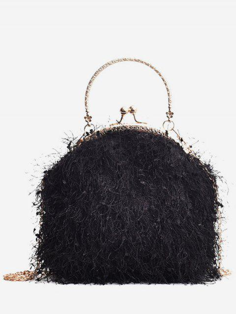 Faux Fur Metal Handle Chain Crossbody Bag - BLACK