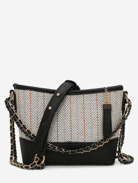 Striped Print Going Out Chain Crossbody Bag - BLACK