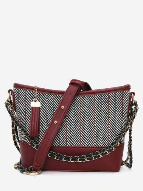 Striped Print Going Out Chain Crossbody Bag - RED WINE