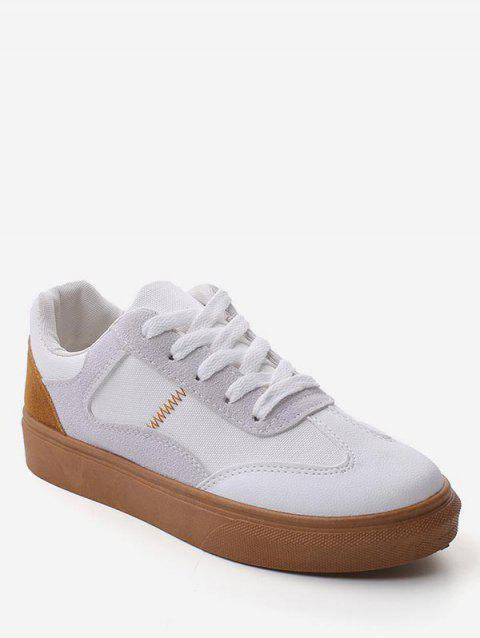 Color Block Lace Up Walking Sneakers - BROWN EU 36