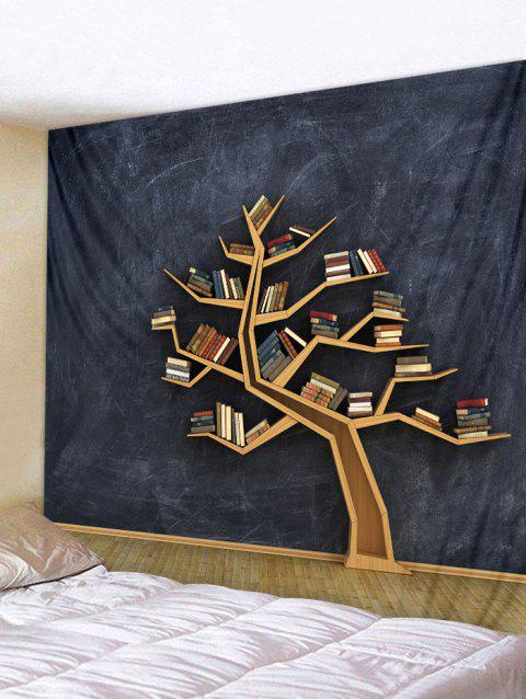 Tree Bookrack Printed Wall Tapestry Art Decor - multicolor W91 X L71 INCH