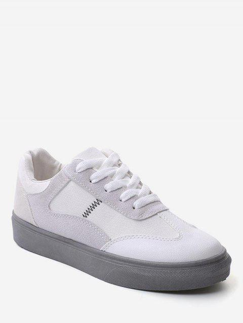 Color Block Lace Up Walking Sneakers - GRAY EU 40