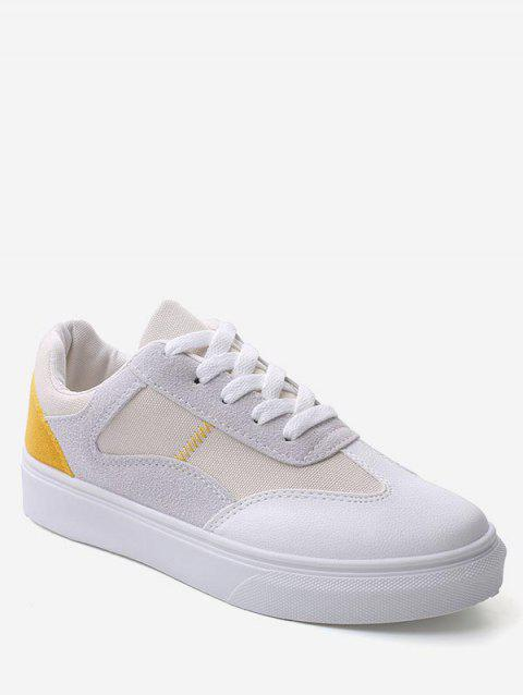 Color Block Lace Up Walking Sneakers - YELLOW EU 36