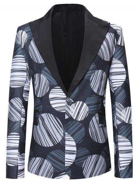 Back Slit Design Round Striped Pattern Blazer - multicolor L