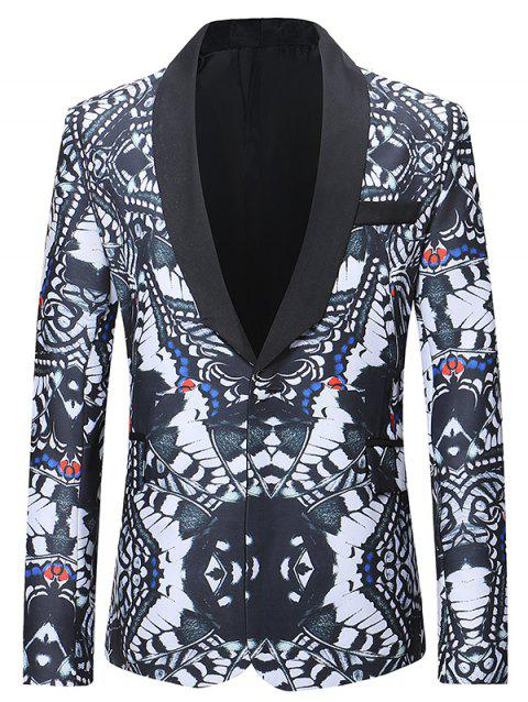 Flap Pocket Design Abstract Printing Pattern Blazer - multicolor L