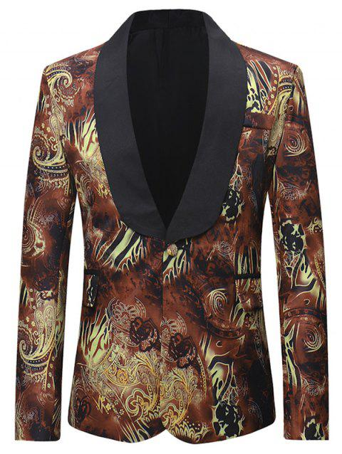 Creative Printed Flap Pocket Design Blazer - multicolor XL