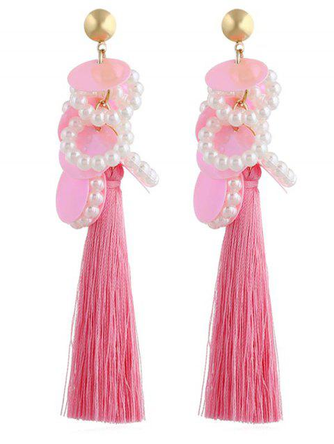 Vintage Round Sequins Long Tassel Earrings - PINK