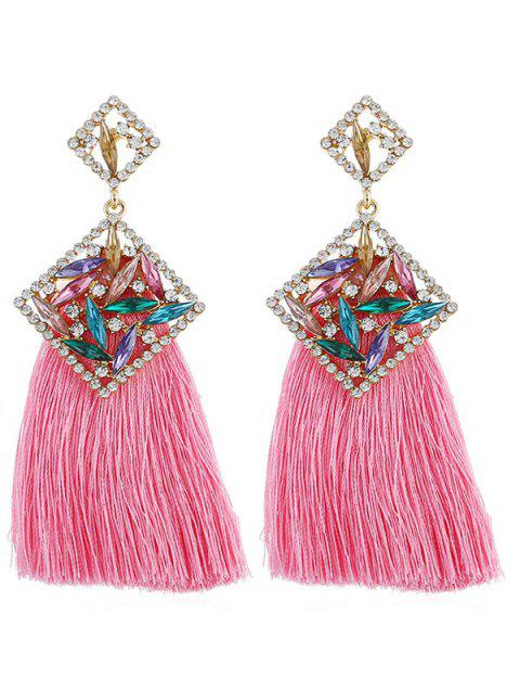 Elegant Rhinestone Geometric Fringed Drop Earrings - LIGHT PINK