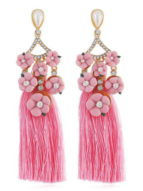 Stylish Long Tassel Rhinestone Floral Earrings - BLUSH RED