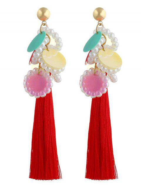 Vintage Round Sequins Long Tassel Earrings - multicolor