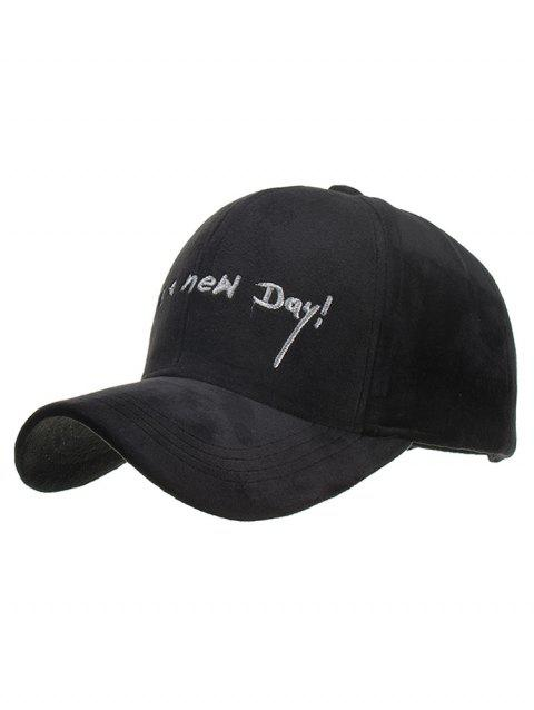 Fun Letter Embroidery Snapback Hat - BLACK