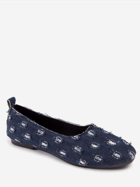 Ripped Denim Slip On Loafers - BLUE EU 36